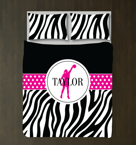 Personalized Zebra Print Basketball Bedding Set - Custom Gift for Girls and Teen Athletes - Basketball Player Themed Bedroom Decor - White, Black, Hot Pink