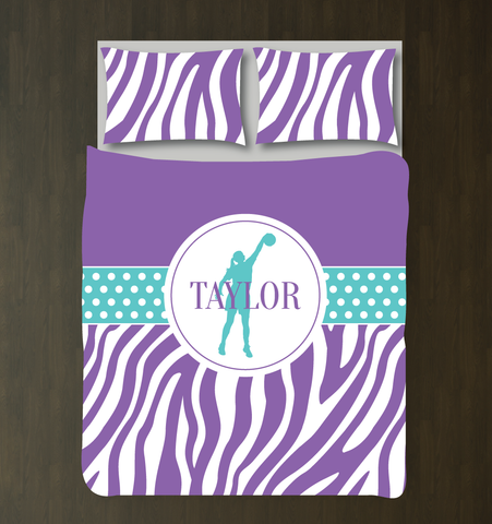 Personalized Zebra Print Basketball Bedding Set - Custom Gift for Girls and Teen Athletes - Basketball Player Themed Bedroom Decor - White, Amethyst Purple, Pool