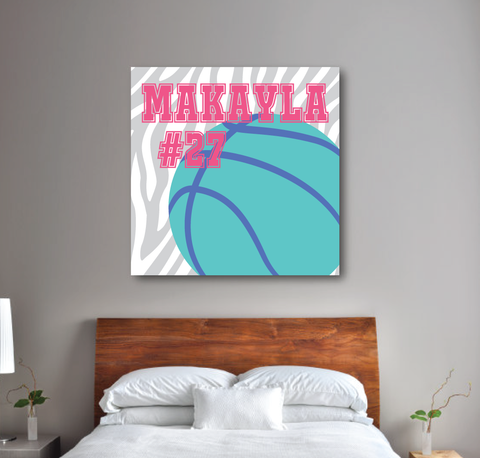 Zebra Print Basketball Canvas - Monogrammed Name and Jersey Number - Sports Team Gift for Girls, Kids, Teens - White, Light Grey, Bubble Gum Pink, Pool, Periwinkle Blue