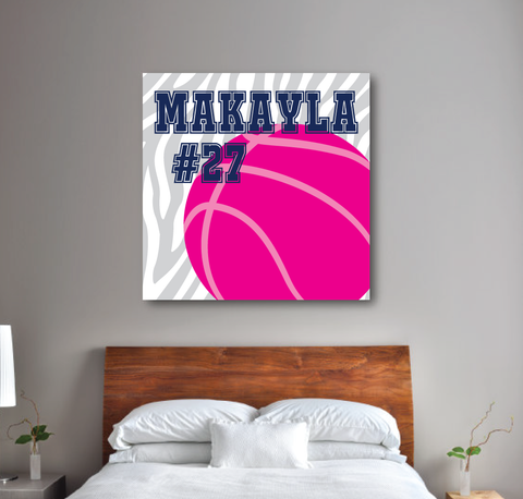 Zebra Print Basketball Canvas - Monogrammed Name and Jersey Number - Sports Team Gift for Girls, Kids, Teens - White, Light Grey, Navy Blue, Hot Pink