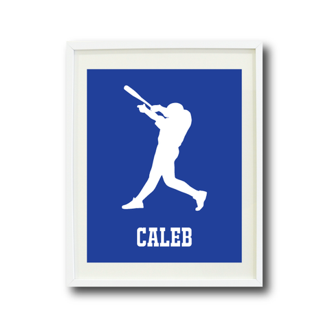 Custom Baseball Art Print for Boys - Monogrammed Name - Monogram - Baseball Player - Sports Team Gift for Teens - White and Royal Blue