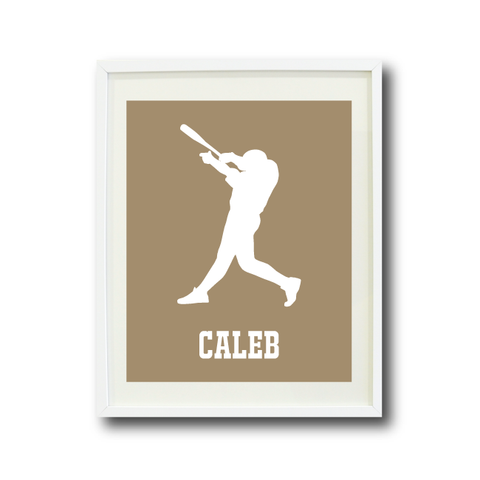 Baseball Player Art Print - Custom Sports Gift for Boys - White and Tan