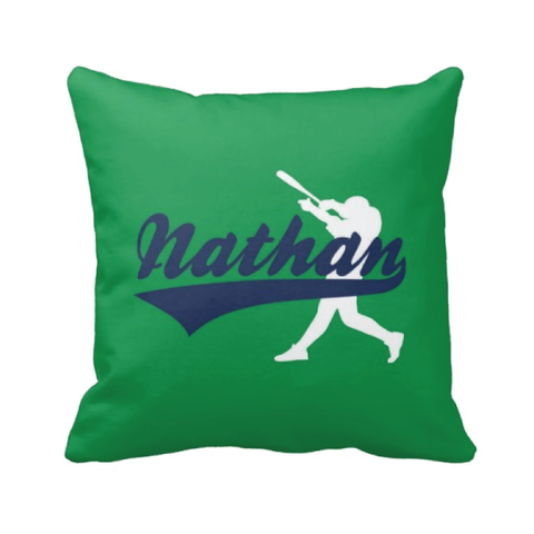 Baseball pillow - Green and navy blue