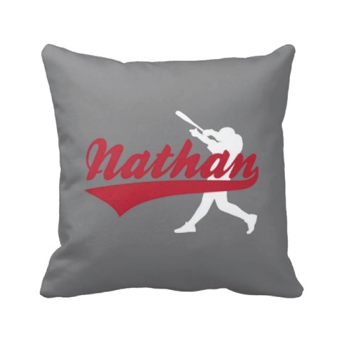 Custom Baseball pillow - Red, grey and white