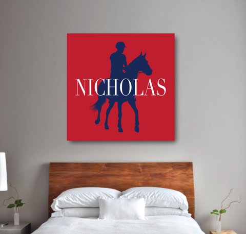 Custom Equestrian Canvas for Boys - Horse Themed Gift for Teens - Red, White and Navy Blue