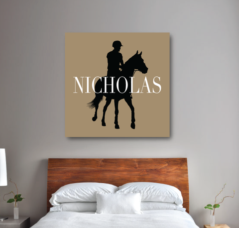 Custom Equestrian Canvas for Boys - Horse Themed Gift for Teens - White, Tan and Black