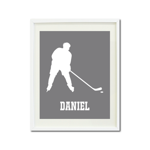 Boys Ice Hockey Art Print - Ice Hockey Player - Sports Gift for Teens and Kids - White and Titanium Grey
