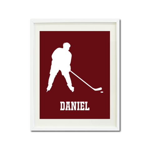 Boys Ice Hockey Art Print - Ice Hockey Player - Sports Gift for Teens and Kids - White and Burgundy