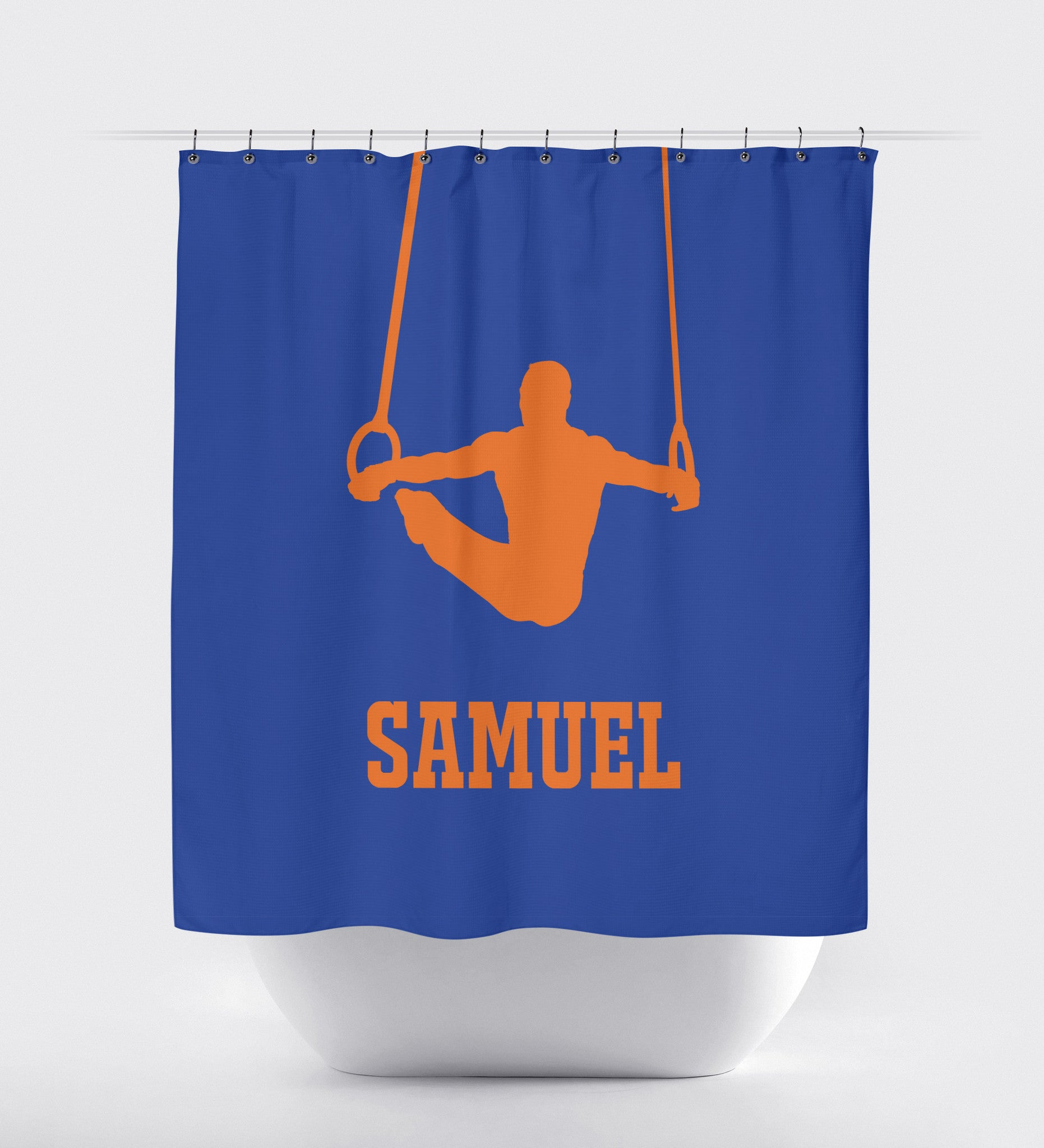 Boys Shower Curtain Male Gymnast Gymnastics Rings Gift For Athlete Shop Wunderkinds Royal Blue Carrot Orange