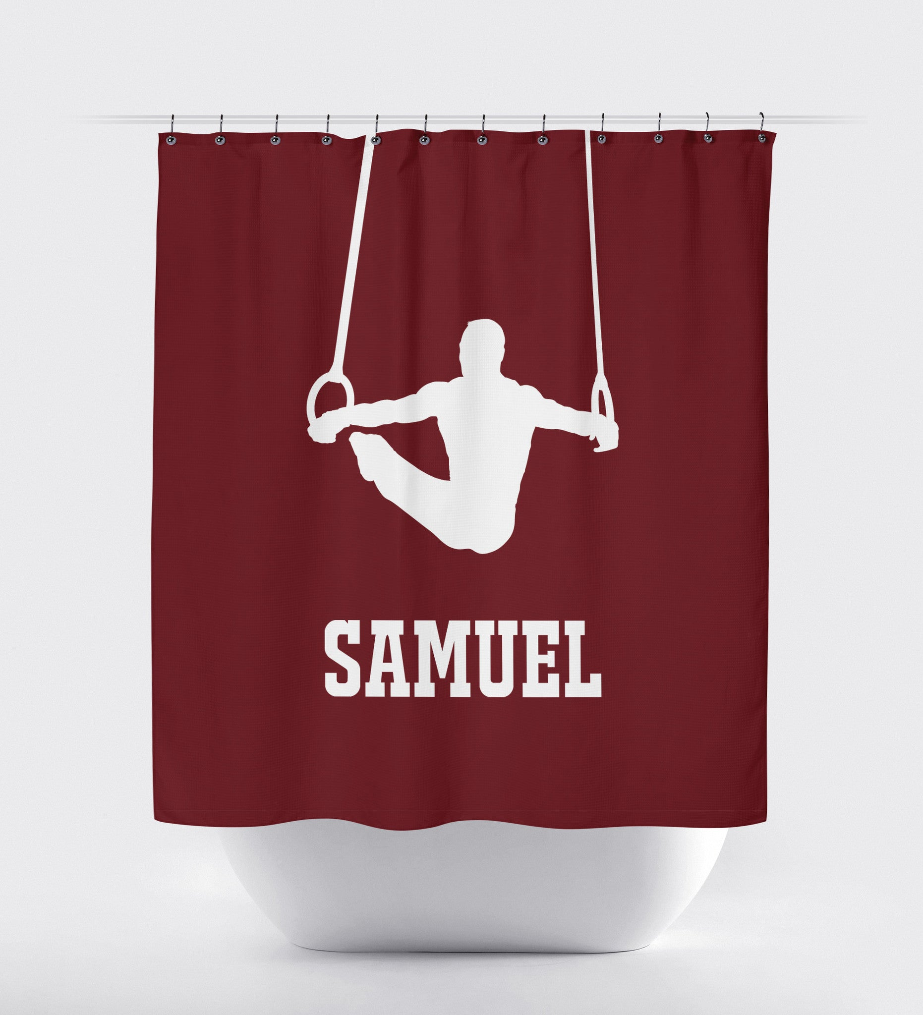 Boys Shower Curtain Male Gymnast Gymnastics Rings Gift For Athlete Shop Wunderkinds Burgundy And White