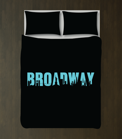 Broadway Bedding for Girls, Boys and Teens - Duvet Cover and Sham Set - Music Theatre - Theater - Star - Acting - Drama - Musical - Play - New York City Skyline - Black, Aqua Blue/Turquoise