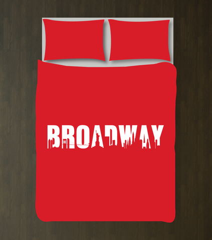 Broadway Bedding for Girls, Boys and Teens - Duvet Cover and Sham Set - Music Theatre - Theater - Star - Acting - Drama - Musical - Play - New York City Skyline - White and Red
