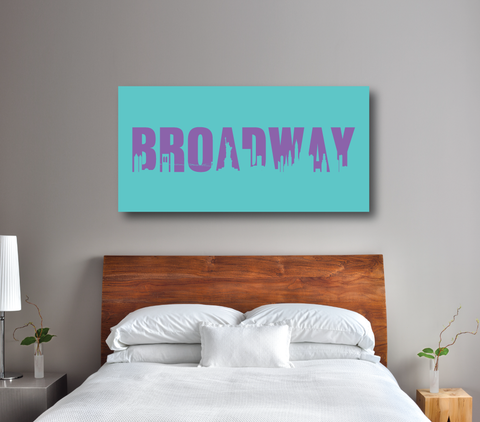 Broadway Theatre Sign Gallery Wrapped Canvas - Wall Poster Art - Girls, Boys, Teens, Children, Kids - Music Theatre - New York City Skyline - Musicals - Room Decor - White, Pool, Amethyst Purple
