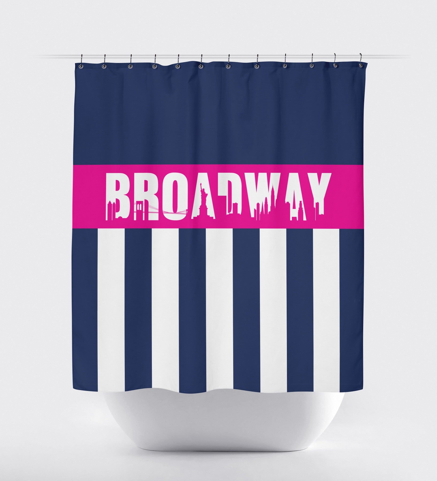 Broadway Shower Curtain With Vertical Stripes And New York City Skyline Navy Blue Hot Pink And White Choose Any Colors