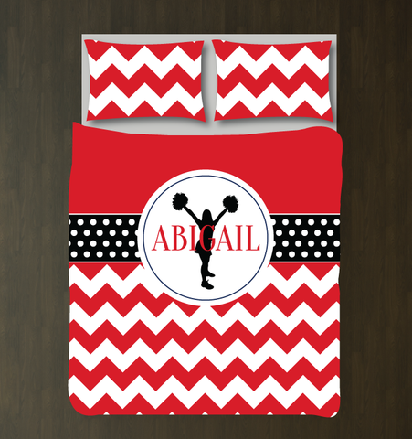 Cheer duvet cover- chevron and polka dots- red, black and white