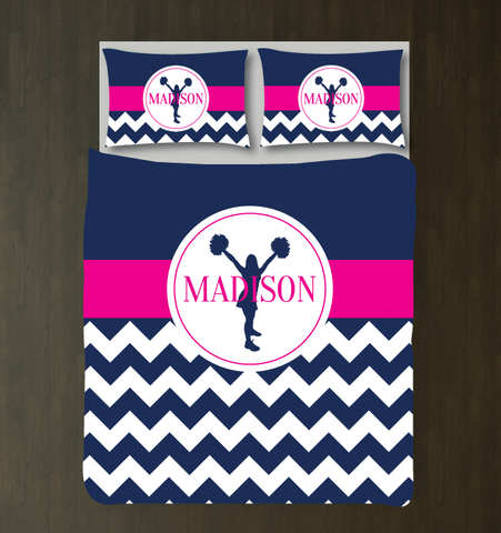 Cheer duvet cover - navy and hot pink - chevron