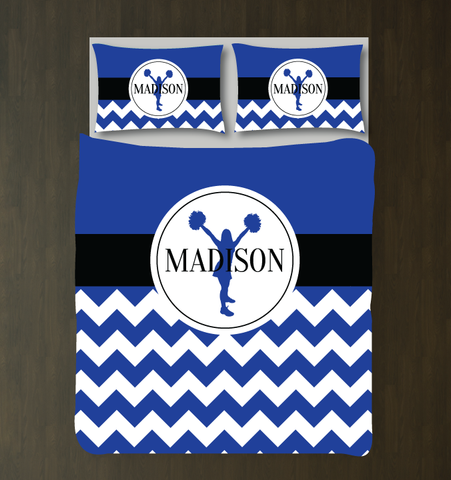 Custom cheer duvet - royal blue, black and white