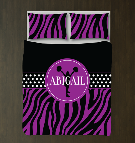 Zebra Print Custom Cheerleading Duvet Cover With Name - Purple and Black