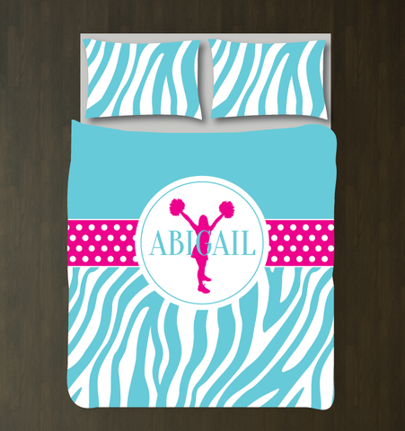Custom Cheer Duvet Cover With Name and Zebra Print - hot pink and aqua