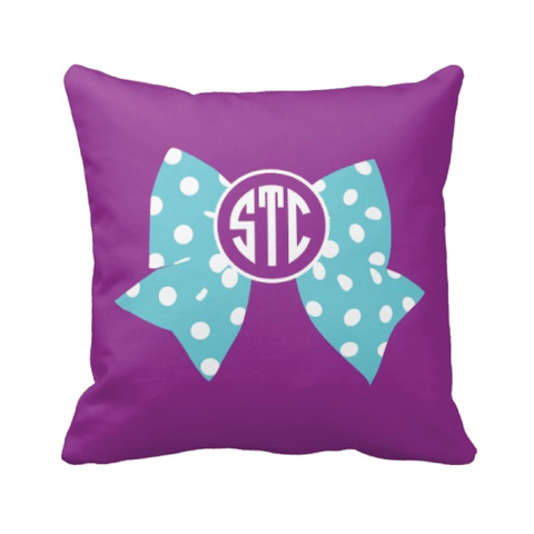 Large Bow and Monogram Pillow - Cheer, Gymnastics, Softball, Dance - Purple and Aqua Polka Dot