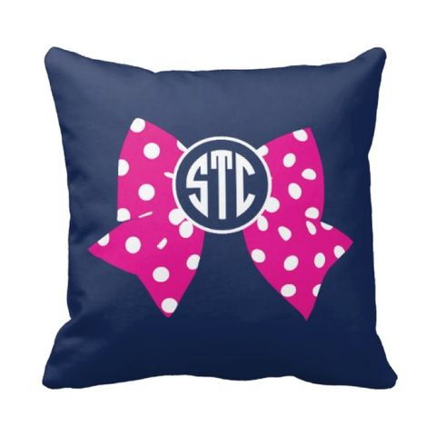 Large Bow and Monogram Pillow - Cheer, Gymnastics, Softball, Dance - Navy and Hot Pink Polka Dot
