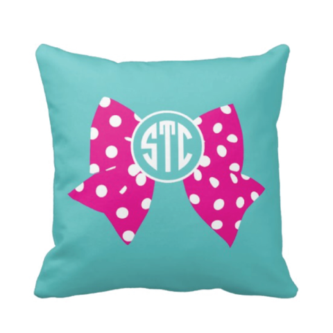 Large Bow and Monogram Pillow - Cheer, Gymnastics, Softball, Dance - Pool and Hot Pink Polka Dot
