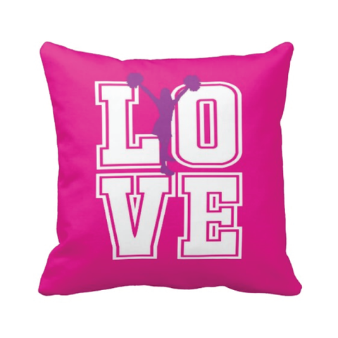 Cheer LOVE Throw Pillow - Hot pink, white and purple