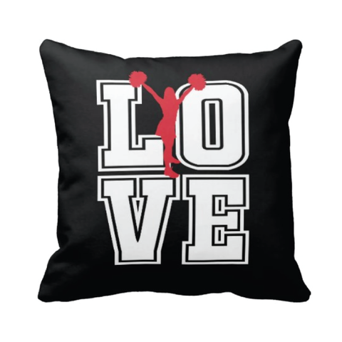 Cheer LOVE Throw Pillow - Red, black and white
