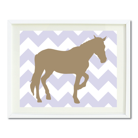 Chevron Horse Wall Art Print - Custom Equestrian Gift for Boys and Girls - Teen Room Decor - Light Tan and Light Purple