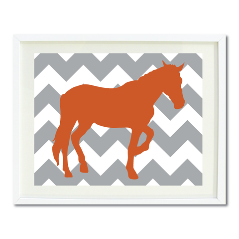 Chevron Horse Wall Art Print - Custom Equestrian Gift for Boys and Girls - Teen Room Decor - Grey and Burnt Orange