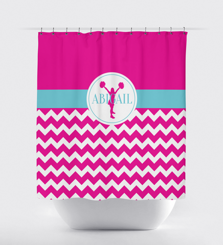 Chevron cheer custom shower curtain - Cheerleading Decor - Sports gift for cheerleader - hot pink and aqua