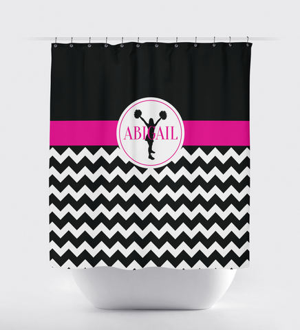 Chevron cheer custom shower curtain - Cheerleading Decor - Sports gift for cheerleader - hot pink, black and white