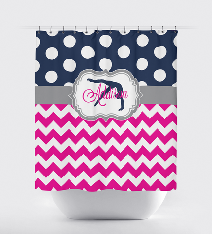 Gymnastics Shower Curtain - Custom Colors - Chevron and Polka Dot - Name and Silhouette - Hot Pink, Grey and Navy