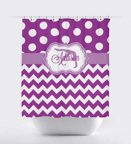 Gymnastics Shower Curtain - Custom Colors - Chevron and Polka Dot - Name and Silhouette - Purple and White