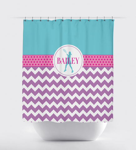 Custom Tennis Shower Curtain - Chevron and Polka Dots - Tennis Player Gift for Girls - Aqua, Purple and Hot Pink