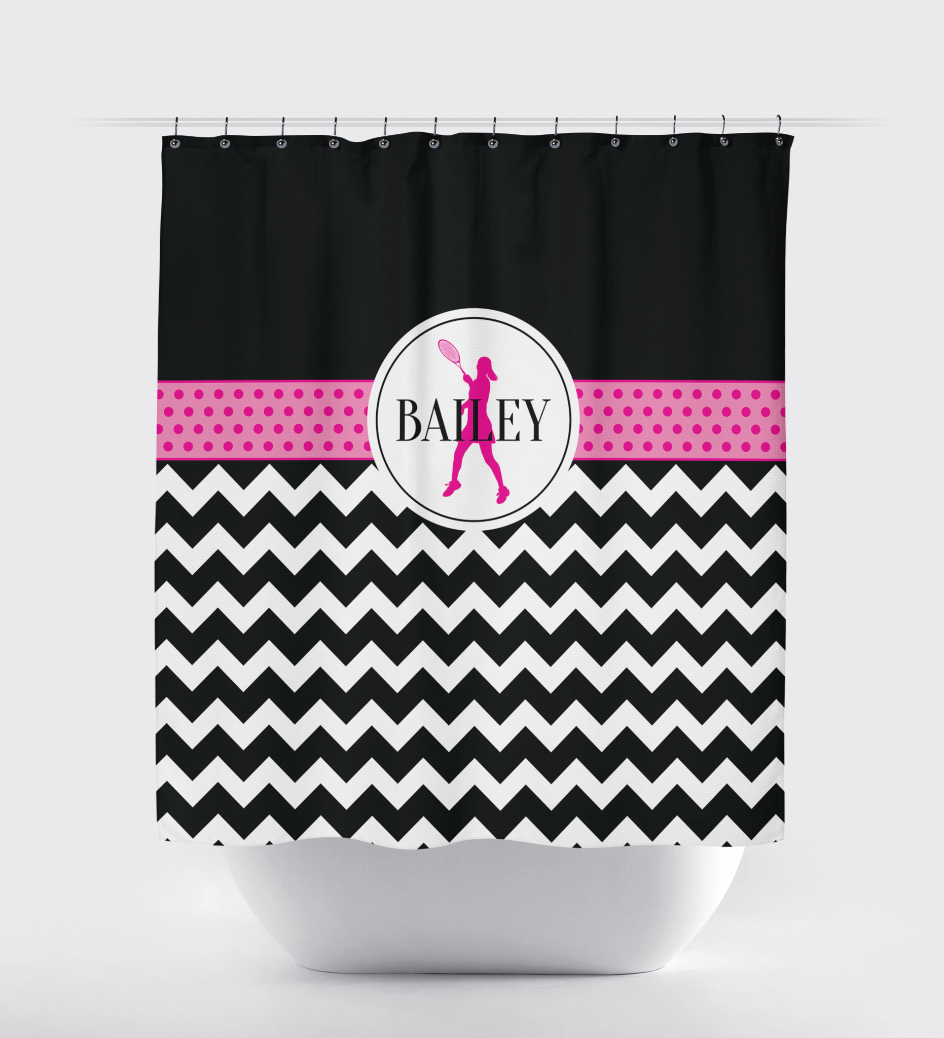 Custom Tennis Shower Curtain   Chevron And Polka Dots   Tennis Player Gift  For Girls ...