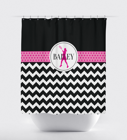 Custom Tennis Shower Curtain - Chevron and Polka Dots - Tennis Player Gift for Girls - Hot Pink, Black and White