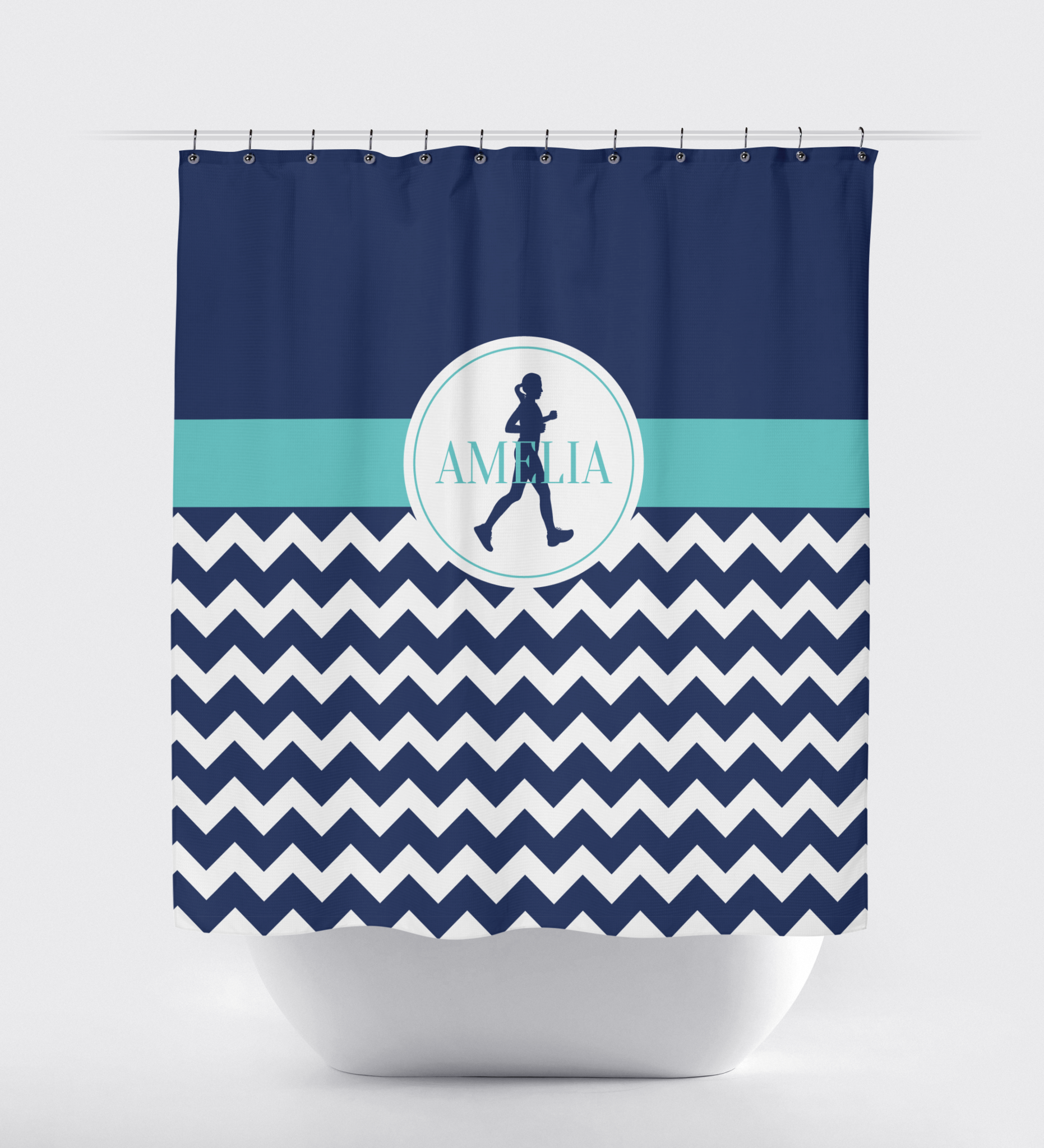 Chevron Running Custom Shower Curtain