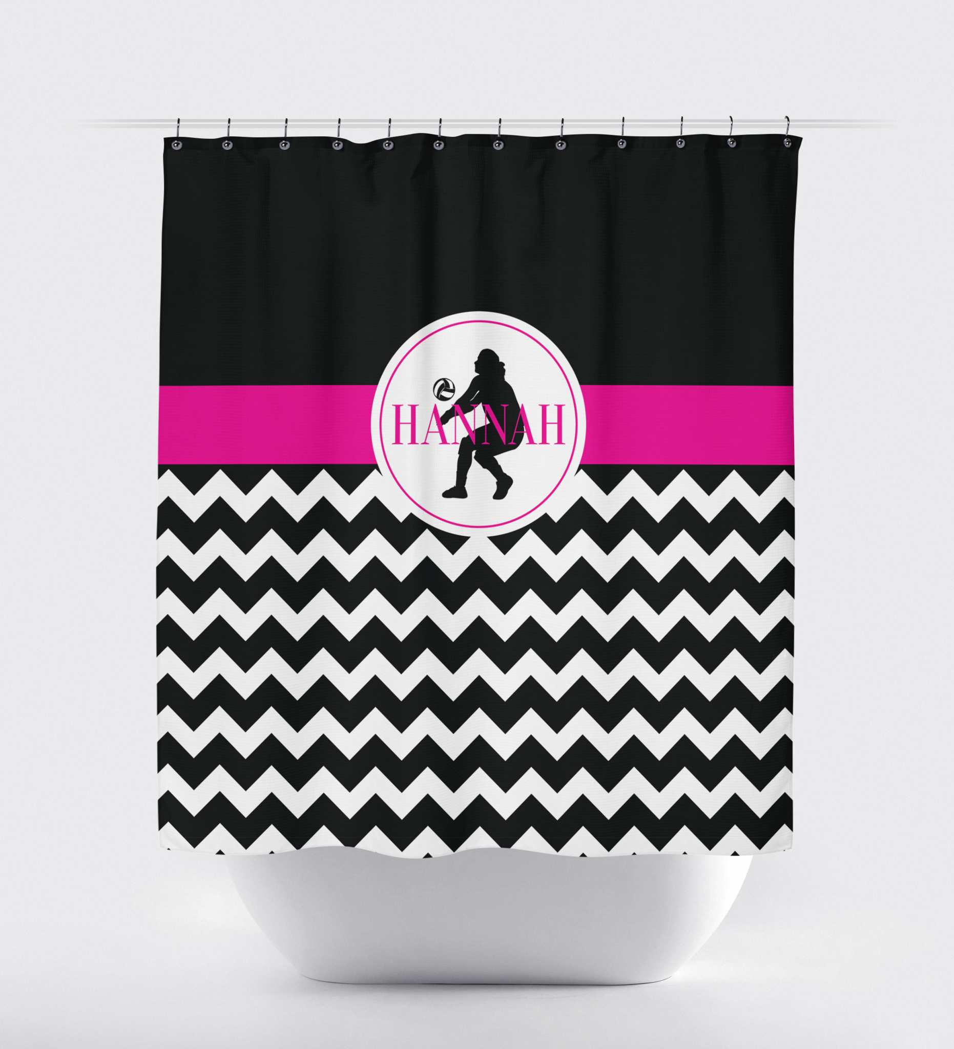 pink and black shower curtain. Chevron Volleyball Shower Curtain  Sports Team Gift for Girls Female Player Hot Silhouette Monogram Shop
