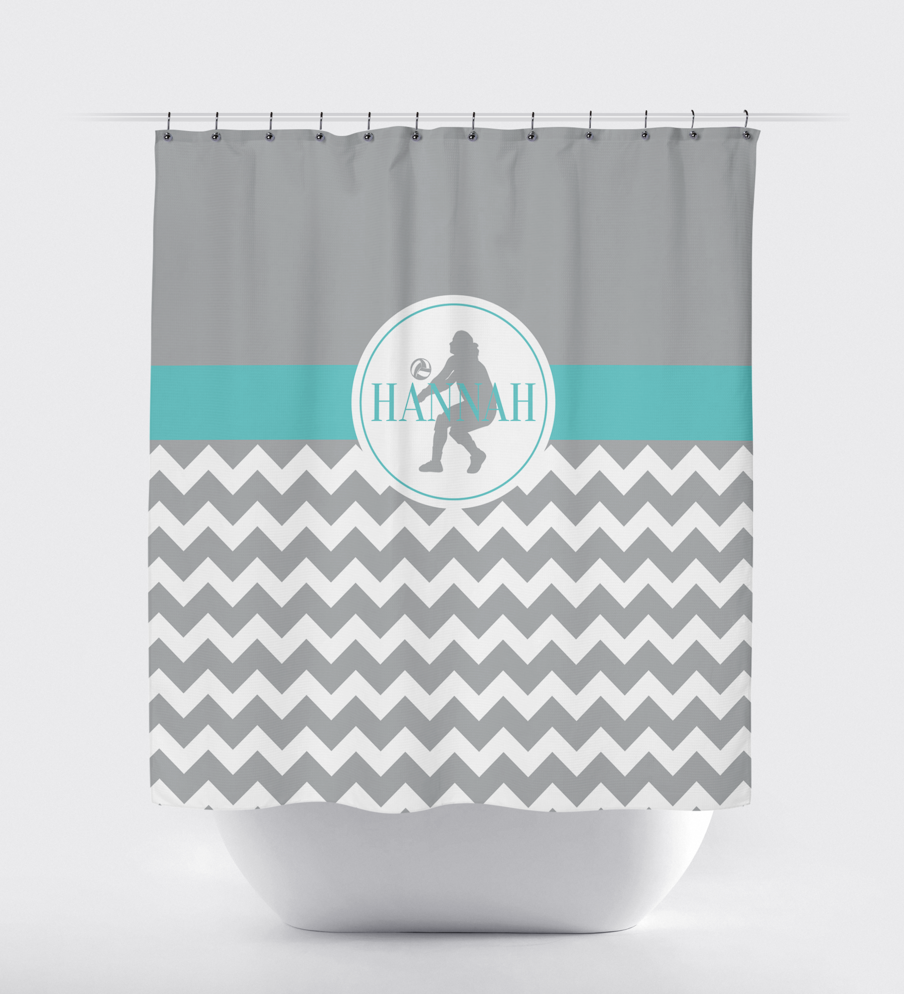 Chevron Volleyball Shower Curtain   Sports Team Gift For Girls   Female  Volleyball Player   Grey ...