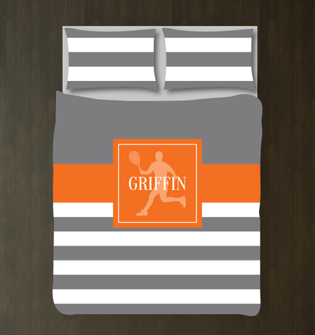 Football Player Duvet Cover - Custom Football Bedding for Boys Rooms - Grey, Orange and White