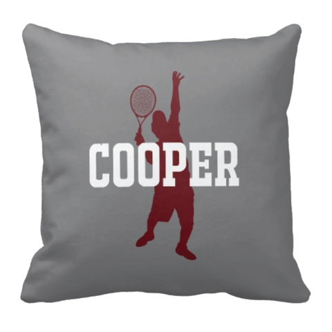 Custom Tennis Throw Pillows for Boys - Personalized Sports Gift for Teen Tennis Player and Team - Bedroom Decor - Grey, Burgundy and White