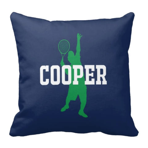 Custom Tennis Throw Pillows for Boys - Personalized Sports Gift for Teen Tennis Player and Team - Bedroom Decor - Navy Blue, Green and White