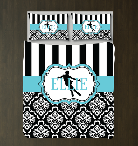 Custom Damask Figure Skating Bedding Set for Girls - Duvet Cover and Shams for Teens - Figure Skater - Ice Dancer Dancing - White, Aqua, Black