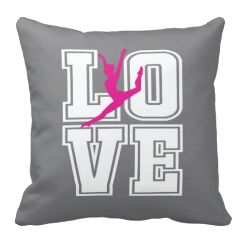 LOVE Dance Silhouette Throw Pillow for Girls - Tee Girl Dancer Bedroom Decor - College Dorm Room - White, Hot Pink, Grey