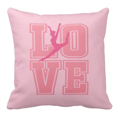 LOVE Dance Silhouette Throw Pillow for Girls - Tee Girl Dancer Bedroom Decor - College Dorm Room - Bubble Gum Pink, Light Pink