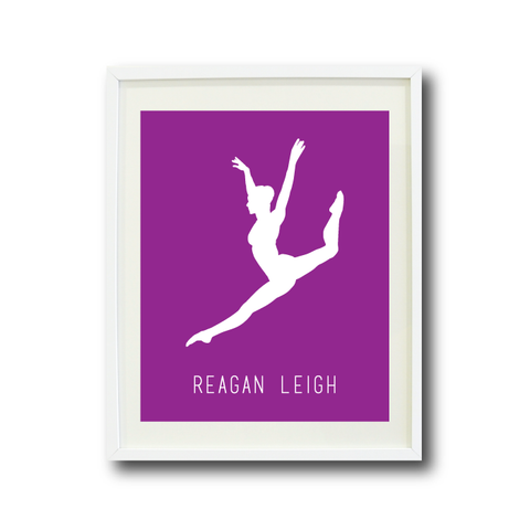 Dance Wall Art Print - Dancer Silhouette - Gift for Girls and Teens – Dance Themed Bedroom Decor- White and Purple