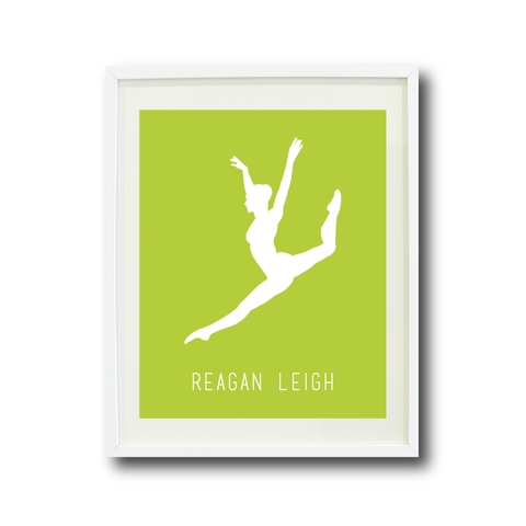 Dance Wall Art Print - Dancer Silhouette - Gift for Girls and Teens – Dance Themed Bedroom Decor- White and Lime Green