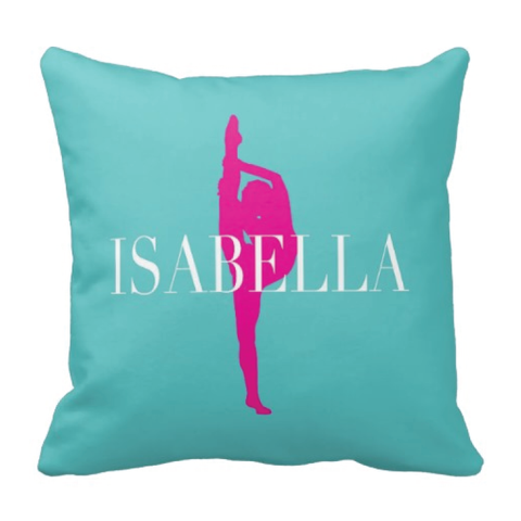 Custom Dance Pillow - Silhouette and Monogrammed Name - Dance Gift for Girls and Teens - White, Aqua and Hot Pink