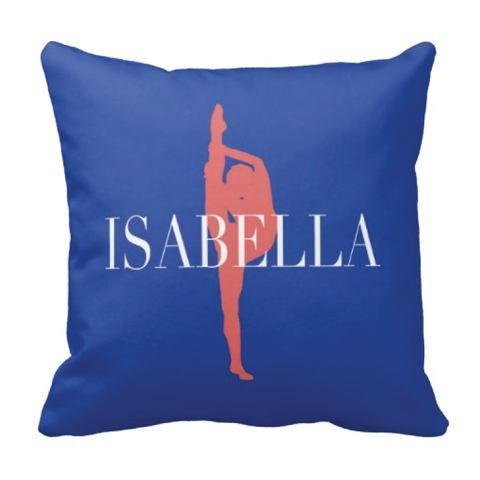 Custom Dance Pillow - Silhouette and Monogrammed Name - Dance Gift for Girls and Teens - White, Royal Blue, Cayenne